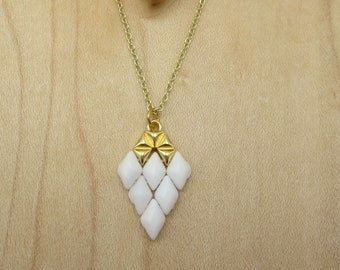 White and Gold Pendant Jewelry for Her Unique Arrow Gift for Women Necklace Laying Small Wedding Bridal Jewelry Pendant For Mom, Daughter