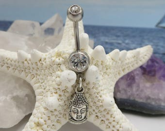 Silver Buddah Belly Button Ring, Long Buddha Navel Body Jewelry for Summer, Cute Inspirational Charms for Her, Fun Bathing Suit Fashion
