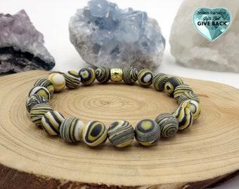 Grey Yellow and White Beaded Bracelet, Stylish Stretch Reto  60's 70's Style  Stackable Stone Jewelry For Her Wife, Girlfriend, Mom Bracelet