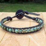 Light Blue Green Leather Wrap Charity Bracelet, Southwestern Country Bohemian Stone African Turquoise Fashion Everyday Unisex  Jewelry