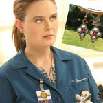 Temperance Brennan Wearing Turquoise Brass and Red Beaded Dangle Fashion Earrings, Uniuqe  Womens Earrings On TV Bones Fans Gift for Mom