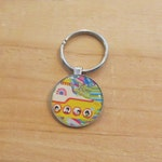 Psychedelic Art Yellow Submarine Fab Four Key Chain Photo Pendant, Beatles Music Fans, Sixties Hippie  Music Book Case Zipper Pull Charm