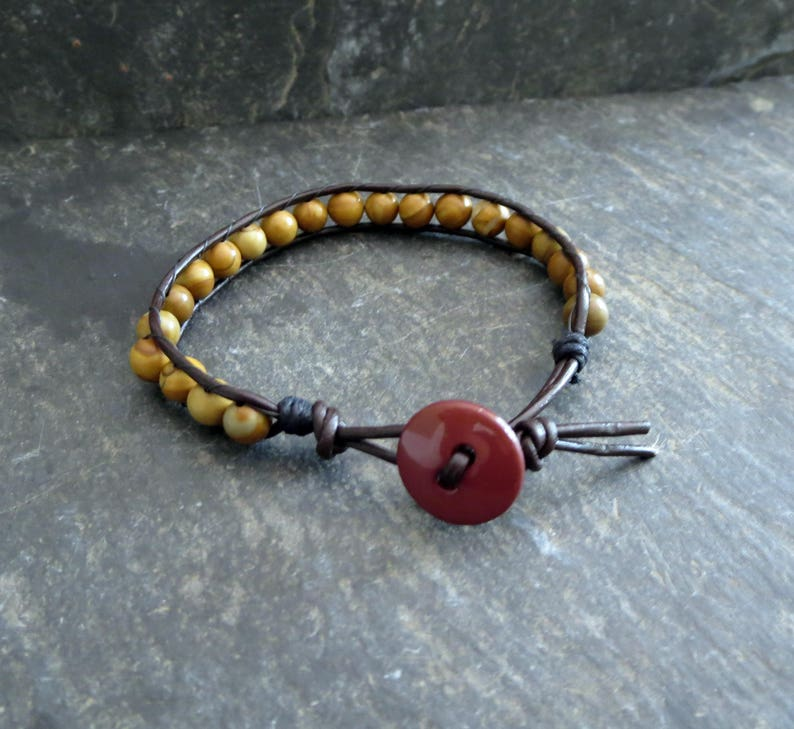 Stackable For Woman Beaded Wood Leather Wrap Light Brown Bracelet Birthday Gift for Boyfriend Husband Earthy Jewelry