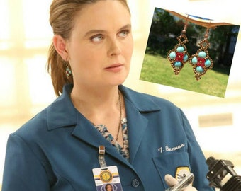 Seen on Bones Emily Deschanel Temperance Brennan Fans Beaded Blue and  Swarovski Crystal Earrings Red Blue for Her Gift For Bones Fan
