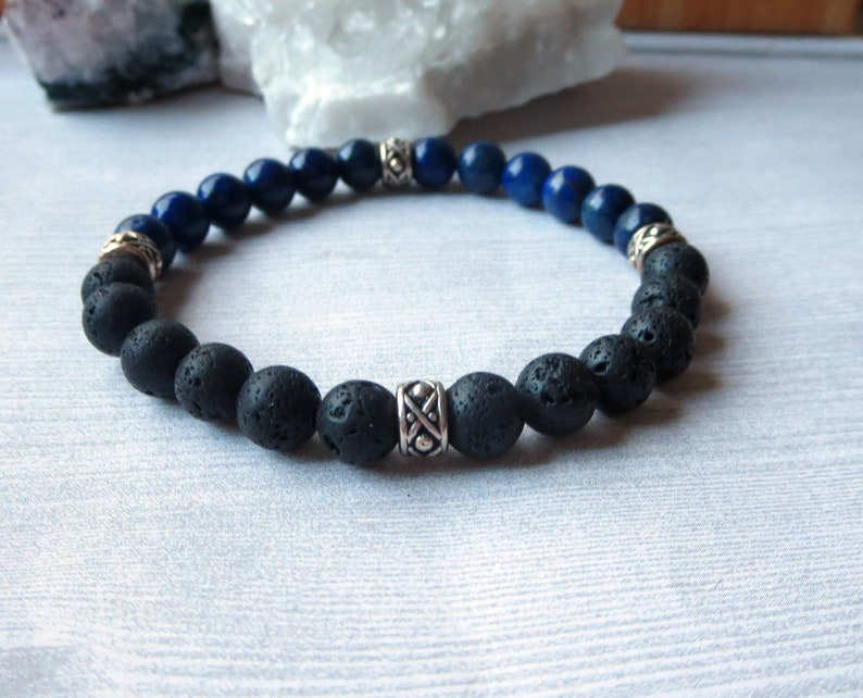 Blue Black Bracelet As Seen On Will Kemp Self Care for Men Anxiety Aromatherapy Healing Stretch Diffuser Unisex Stackable Lava Rock Bracelet