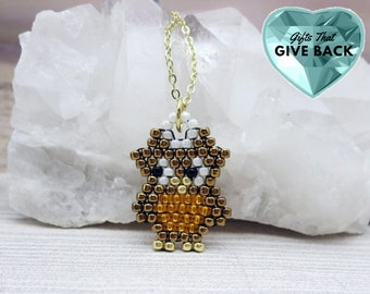 Owl Necklace, Cute Little Brown Bird Pendant, Fun Good Luck Owl Jewelry, Animal Nature Themed Cartoon Character for Girls, For Owl Lovers