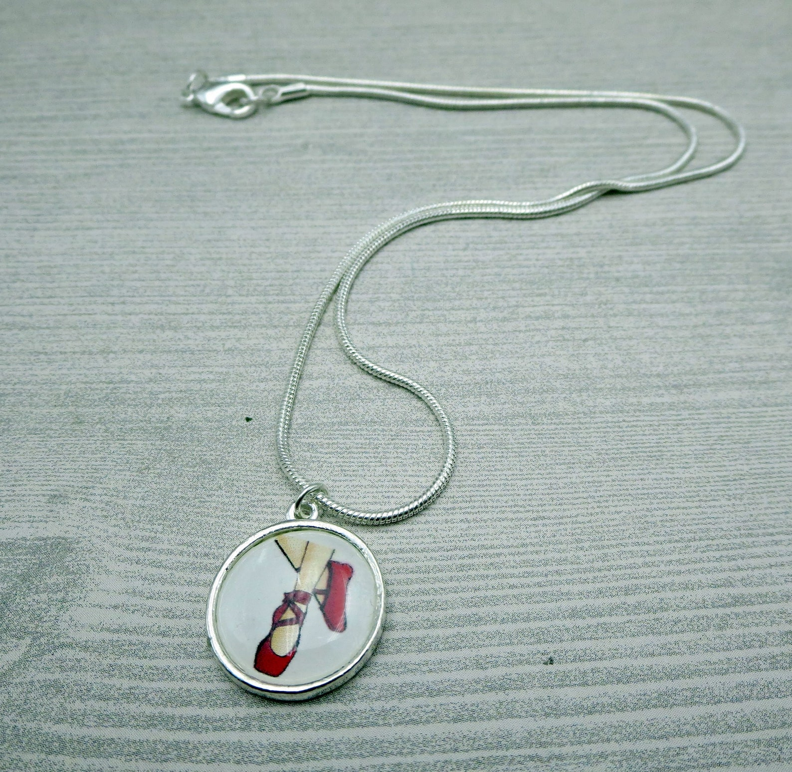 red pointe ballet slippers necklace, pendant for dancers, gift for favorite dance teacher, present for dance recital, lover of t