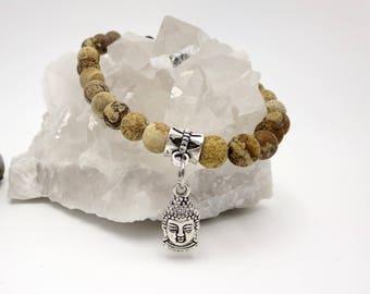 Brown Stone Beaded Bracelet, Buddah Charm Yogi Jewelry, Stretch Boho Charity Accessories, Yoga Stone Diffuser Aromatherapy Gift Idea for Her
