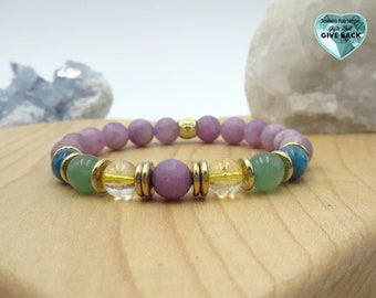 Purple Bracelet Colorful Women's Fashion Jewelry Green Yellow Blue and Purple Lilac Citrine Feminine  Gold Stackable Stretch Bracelet Gift