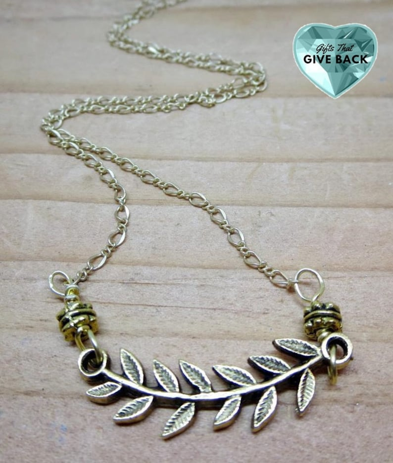 Gold Chain Necklace Leaf Necklace Pendant On TV Seen On image 0