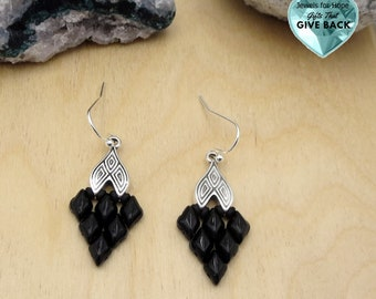 Black and Silver Earrings, Present for Wife, Mother, Girlfriend Unique Woven Diamond Shape Dangle Beaded Earrings For Her Everyday Jewelry