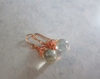 Glass Briolette and Copper Earrings