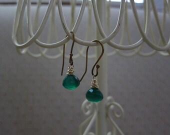 Kelly Green Chalcedony Briolette Earrings