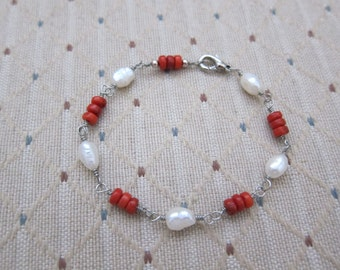 Coral and Pearl Wire Wrapped Bracelet