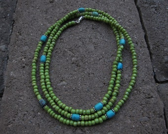 Turquoise and Green Beaded Necklace