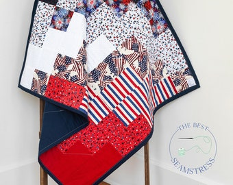 Patriotic Quilt for Fathers Day Gift from Daughter American Flag. Military Blanket for a 70th Birthday Gift for Him or Retirement Gift Him