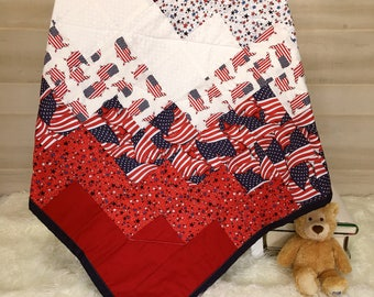 Throw Quilt - Independence Day - Grandpa Gift - Military Gift - Stars and Stripes - Lap Blanket - Patriotic Quilt - American Flag Quilt