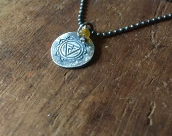 solar plexus chakra - matte recycled sterling necklace