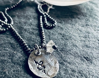 om/breathe - matte recycled sterling necklace with double terminated quartz