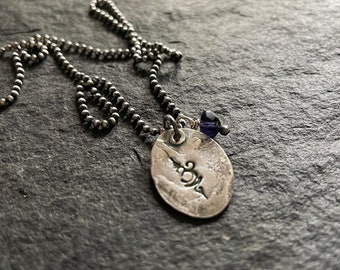 om/breathe - matte recycled sterling necklace with iolite