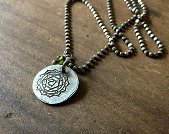 heart chakra - matte recycled sterling necklace