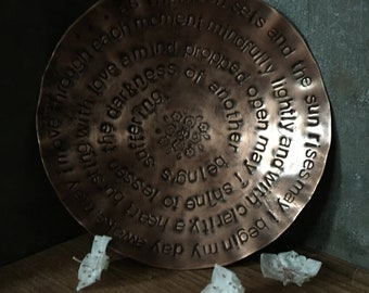 """made to order - morning mantra - warm copper offering bowl - 6"""" with om mandala"""