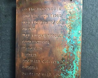 made to order - morning mantra - copper wall plaque
