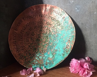 morning mantra - warm copper offering bowl with patina - 6""
