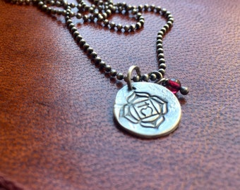 root chakra - matte recycled sterling necklace with garnet