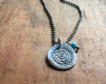 throat chakra - recycled sterling necklace