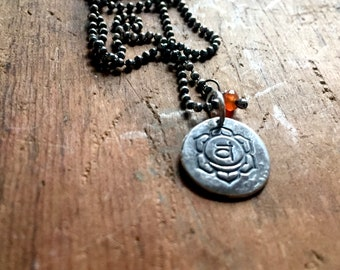 sacral chakra - matte recycled sterling necklace