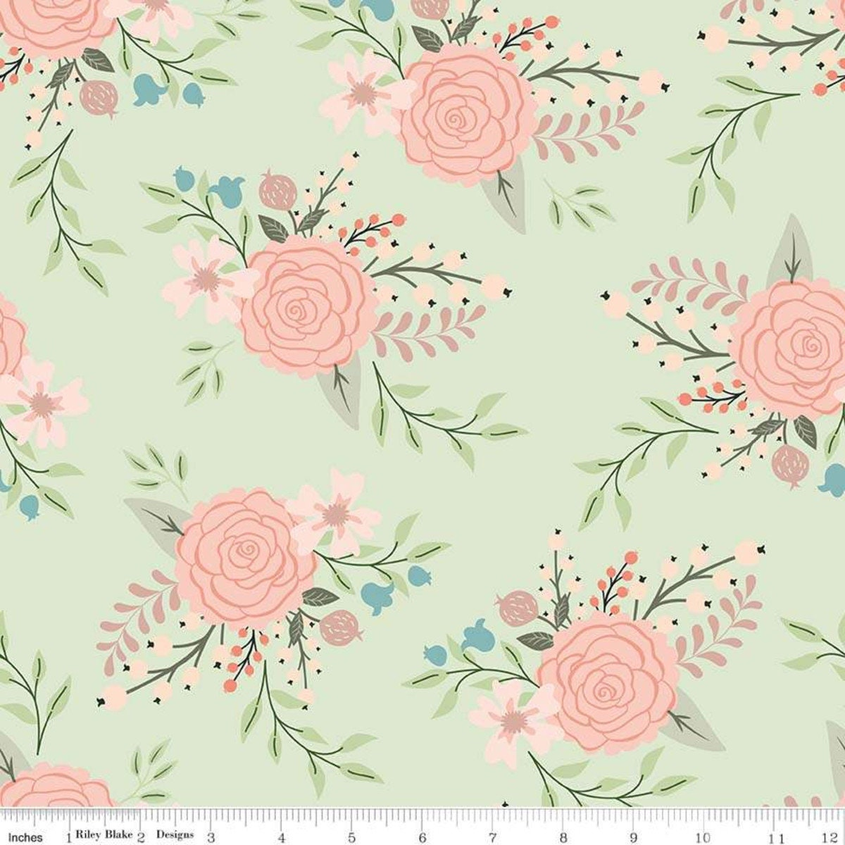 Green Floral Sparkle Fabric Bliss Main Mint Sparkle Quilting Etsy