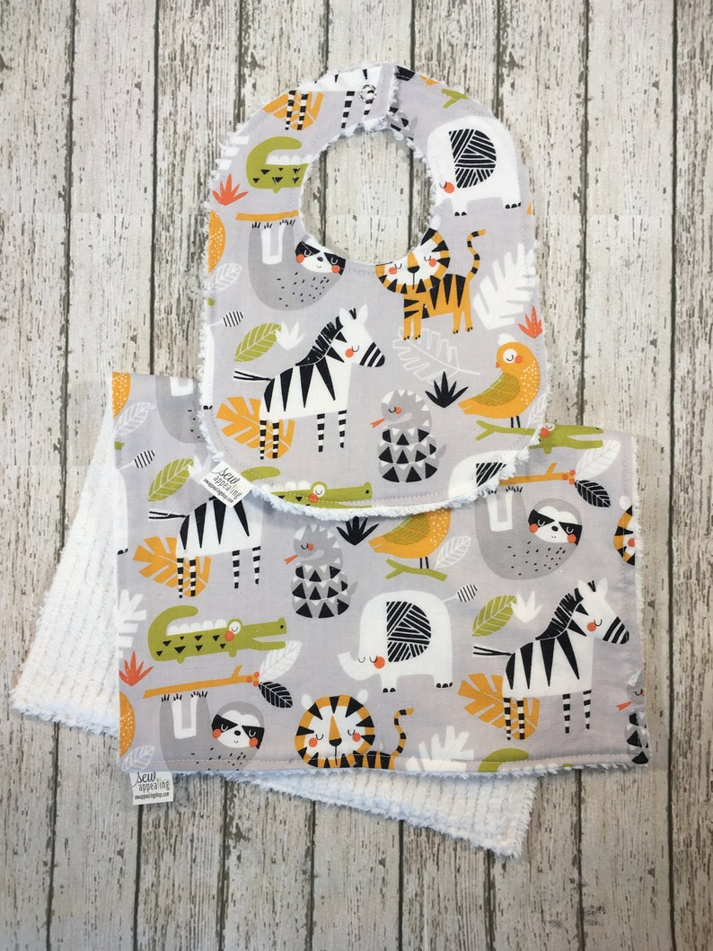 967db0b61f63b Unisex Jungle Animal Bib Tiger Burp Cloths Jungle Baby Shower Gift Grey  Jungle Nursery Elephant Bib Sloth Drool Bibs Absorbent Burp Cloths