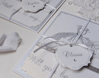 Bridemaid cards-Handstamped with dress, Will You Be My... handstamped-Flower Girl- Maid of Honor-Matron