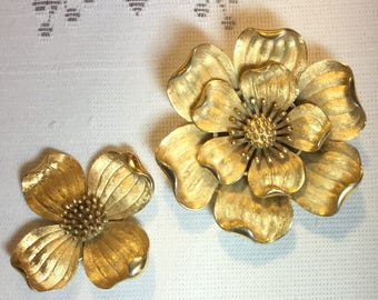 Flower Design Crown Trifari Set of 2 Brooches Designed by Alfred Philippe Signed