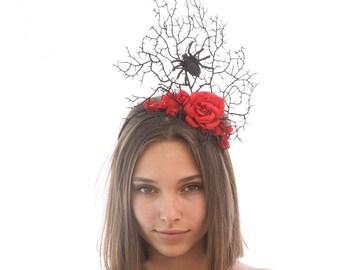 Spider Headband Spider Fascinator Halloween Costume Hair Accessory Black Headband with Red Roses, Adult Halloween Costume Hair Accessories