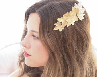 Golden Leaf Hair Comb Gold Hair Accessory Wedding Hair Comb, Gold Bridesmaids Headpiece Hair Clip