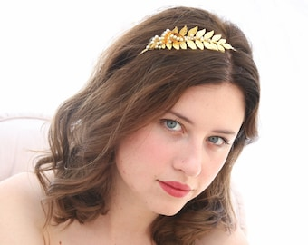 Grecian Gold Metal Leaf and Pearl Headband Gold Wedding Headpiece, Metal Headband for Adults, Metal Hair Accessory of Leaves and beading