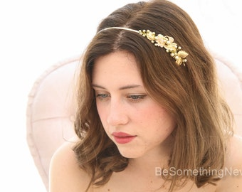 Gold Metal Flower and Leaf Headband, Gold Tiara Hand Painted Beaded Wedding Hair Accessory, Gold Headpiece