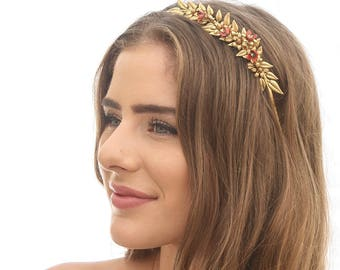 Gold Metal Leaf Headband with Red and Gold Metal Flowers Leaf Tiara Golden Wedding Headband Fashion Headband Metal Hairband Hair Accessory