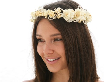 Ivory Wedding Flower Crown of Vintage Flowers Bridal Floral Headpiece made from Vintage Satin and Wax Flowers Rustic Wedding Headband