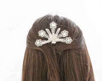 Silver Wedding Hair Pin with Pearls and Quartz Crystals, Large Hair Comb