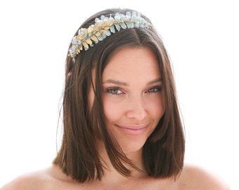 Blue Velvet and Gold Leaf Headband, Wedding Headband, Elopement Hair Accessory, Headbands for Women