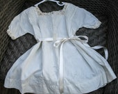 Ivory Antique Lace Baby Dress Vintage Cotton Little Girl Dress, Edwardian Baby Gown, Victorian Dress
