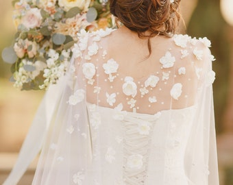 Wedding Cape with Flowers, Long Veil Cape Covered with Ivory Flowers and Pearls Cathedral Floral Veil Alternative