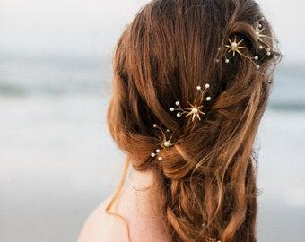 Mermaid Wedding Star Flower and Pearl Bridal Hair Set, Brass Flower Tiara and Bobbie Pins Hair Jewelry Beaded Headpiece