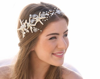 Beach Wedding Starfish Hair Accessory Wired Hair Vine, Nautical Wedding Headpiece, Destination Wedding Headband Starfish Headpiece