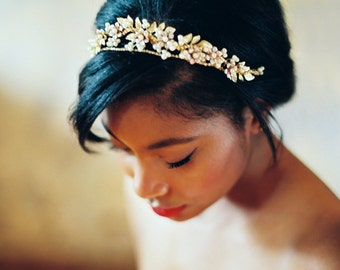 Gold Wedding Crown Floral Wedding Headpiece Leaves Flowers and Pearls, Wedding Hair Metal Wedding Hair Accessory Gold and Peach Bridal Tiara