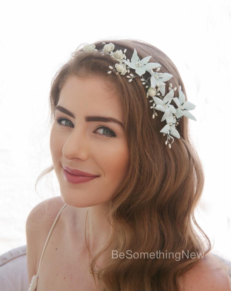 Something Blue Wedding Headpiece Vintage Blue Flower Crown Wired Pearl Bridal Headpiece Beaded Flower Hair Vine with Vintage Blue Flowers