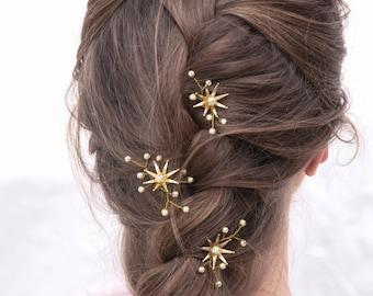 Wedding Hair Pins Star Flower and Champagne Pearl Celestial Bridal Hair Pin Set, Brass Flower Bobbie Pins Hair Jewelry Beaded Headpiece